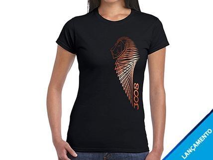 Camiseta Preta Feminina 3008 Leão Cobre